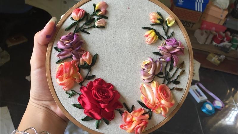 D.I.Y Ribbon Embroidery Rosa Hướng dẫn thêu ruy băng hoa hồng