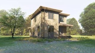 Двухэтажный каркасный дом 8х10 Проект КД-49. Общий вид