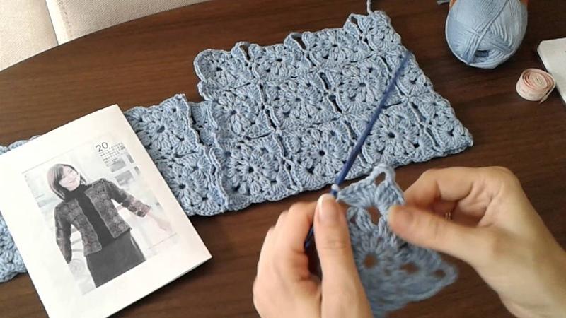 Жакет из квадратных мотивов (безотрывное вязание крючком). Часть 1. Сrochet jacket.