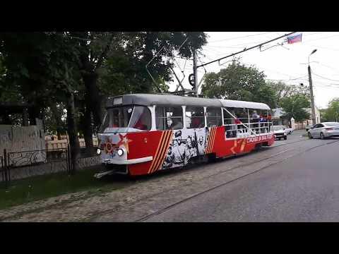 Праздничный трамвай едет с ЖД Вокзала