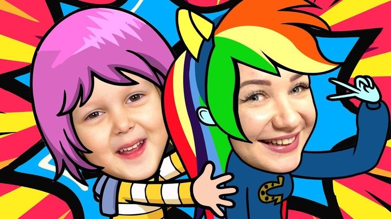 МАЙ ЛИТЛ ПОНИ Чаепитие Амелька подружилась с настоящей Радугой Деш Играют в боулинг Kids Video
