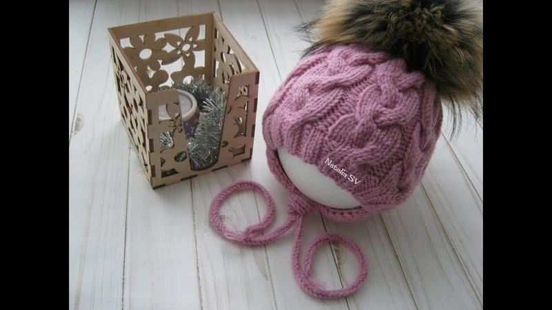 Шапочка для новорожденного спицами. Детская шапочка на 0-3 месяца. Подробный МК.