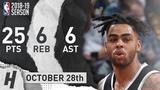 D'Angelo Russell Full Highlights Nets vs Warriors 2018.10.28 - 25 Pts, 6 Ast, 6 Rebounds!