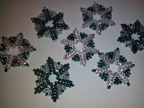 Снежинки из бисера. Snowflake bead