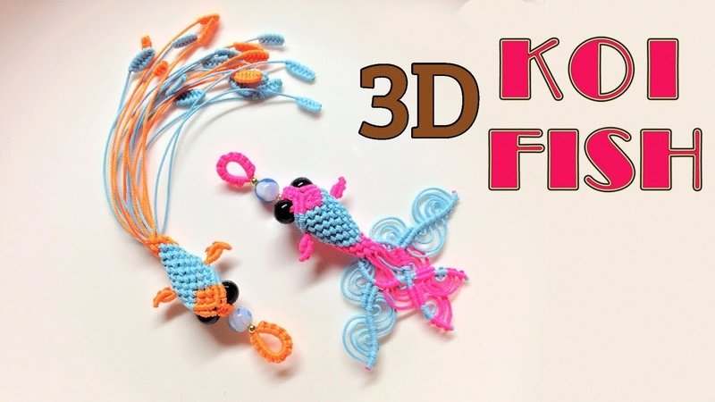 Macrame keychain tutorial - 3D KOI fish pattern - So cute and pretty macrame animal