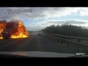 Truck explodes after head on collision with car in Russia