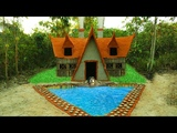 Build The Greatness Winter Bamboo Villa House &amp Amazing Swimming Pool (Full Video)