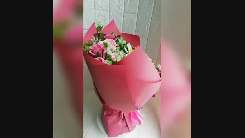 Букет мыльных цветов розовый смоук