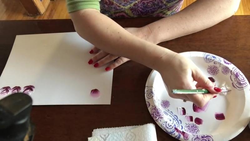 Рисуем одним мазком.Бутон и роза. Акриловые краски
