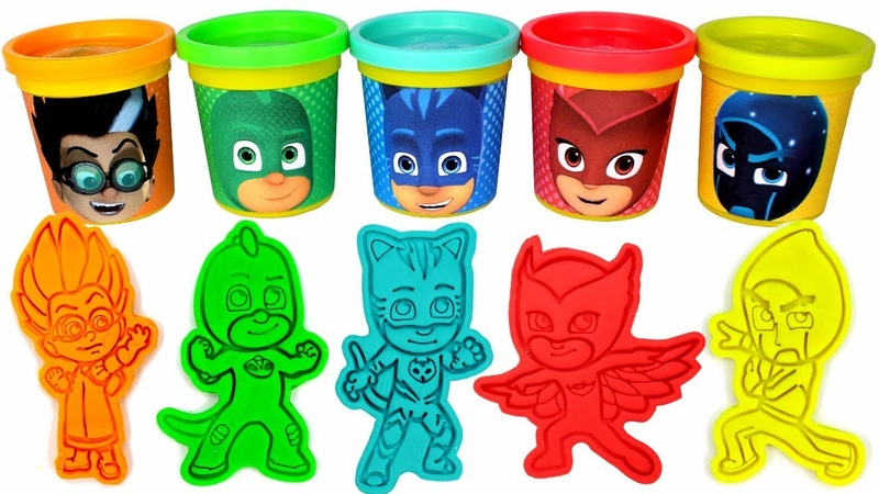 PJ Masks Play Doh Can Heads Play Doh Molds | PJ Masks Drawing with Surprise Toys for Kids