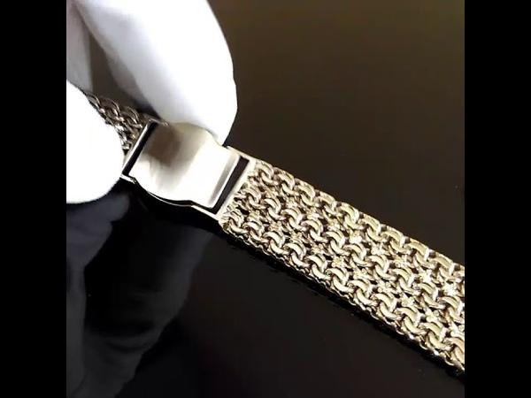 Браслет из белого золота для часов плетение Тройной Бисмарк