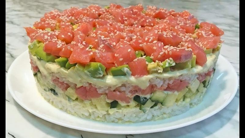 Салат СУШИ Неимоверно Вкусный и Очень Красивый / Ленивые Суши / Sushi Salad