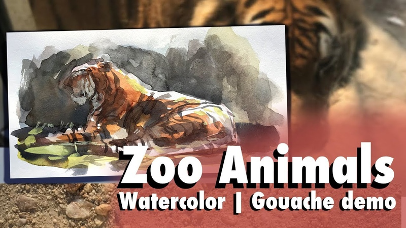 Live Animals Sketching at the Zoo Watercolor Gouache Painting a moving target