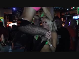 2 sexy smoking hot blondes wearing-lingerie kissing each other and-dancing bike week Froggys saloon
