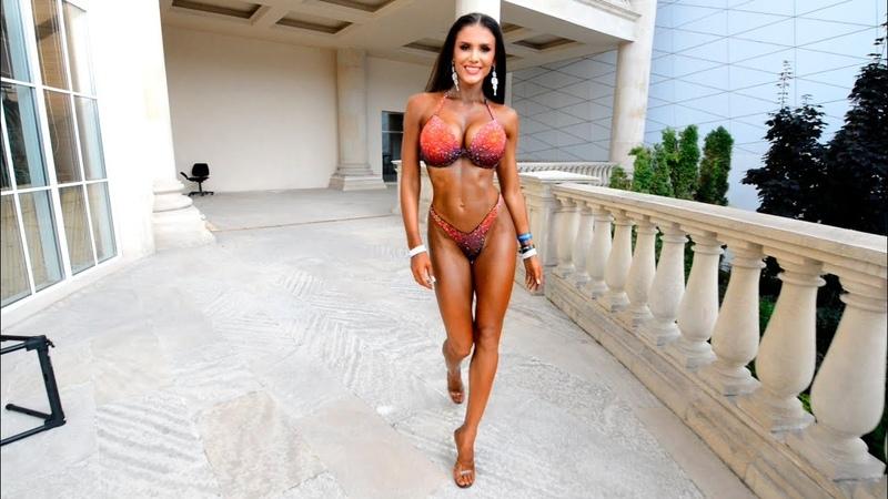 Bikini Fitness IFBB. Posing of bikini, bodybuilding sport motivation