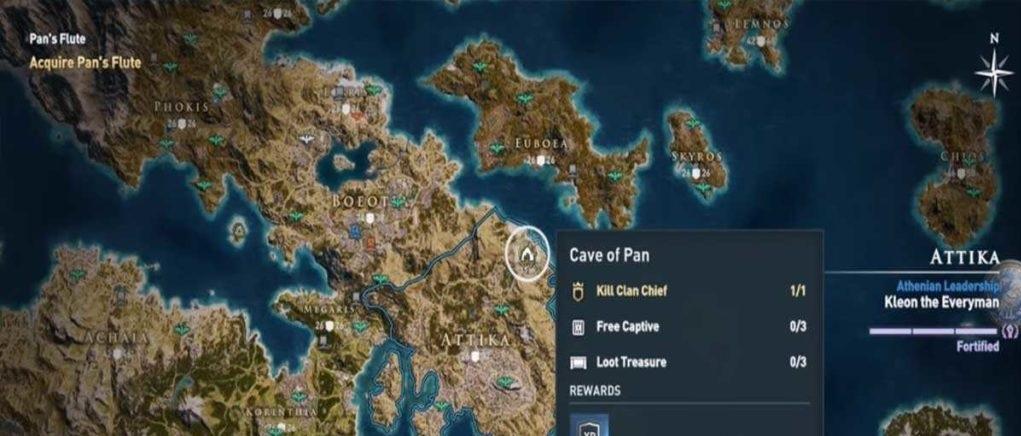 Флейта Пана карта нахождения Assassin's Creed Odyssey