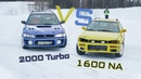 Skilled russian driver uncle Alexey racing on necro subaru. In car view 1600NA vs 2000T