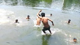 Incredible young Boys drop in the pond for swimming &amp playing.
