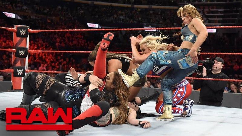 Nia Jax Natalya Banks Bayley Ember Moon vs Bliss James Riott Squad Raw April 24 2018