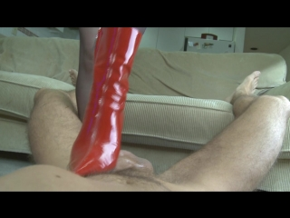 Bootjob, insertion of hight heel in ass