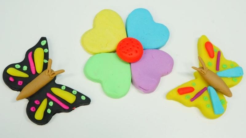 Play-Doh oyun hamuru ile kelebek yapalım. Çocuk videoları