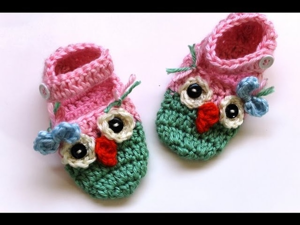 How to Crochet owl booties with ankle strap
