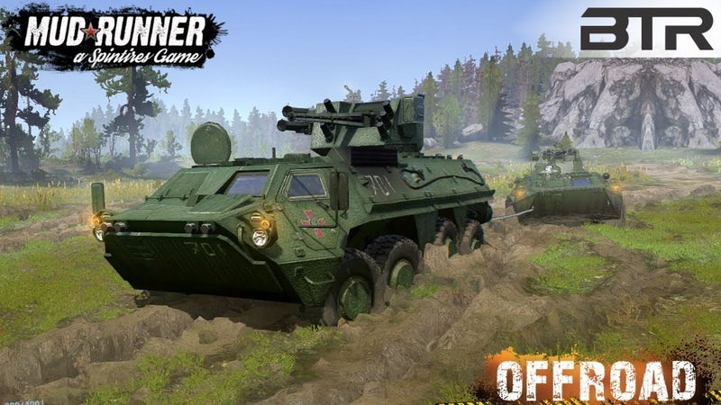 Spintires MudRunner BTR 4E Pulls out a BTR 82A Armored Personnel Carrier Stuck in a Swamp