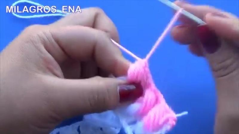 Punto a crochet Cadenas de garbanzos o punto puff para aplicar en mantitas y cob