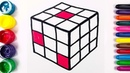 ⭐Rubik's Cube with Glitter coloring and drawing Learn Colors for kids | Art Colors GO!