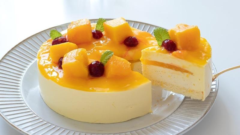 マンゴームースケーキの作り方 No-Bake Mango Mousse Cake|HidaMari Cooking