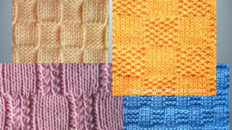 Узоры КВАДРАТЫ - КЛЕТКИ - 1 спицами со схемами Knitted Knitting Diy