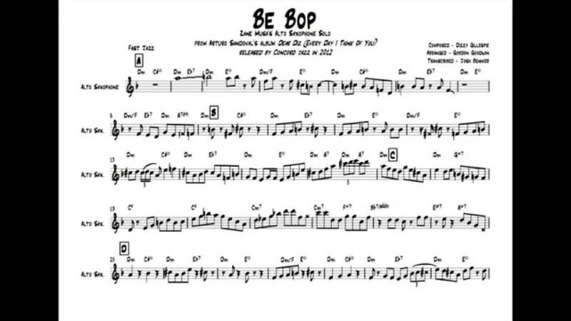 Be Bop - Zane Musa's Alto Saxophone Solo Transcription