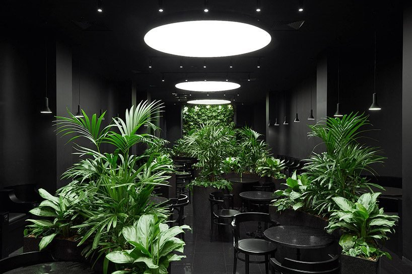 KOSMOS builds a black calm island for airport lounge in russia
