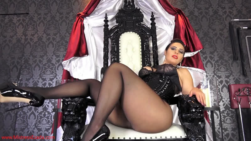 Lady Ezada in black pantyhose and latex