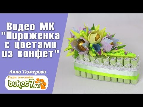 Пироженка с цветами из конфет Десерт к чаю Мастер-класс. Своими руками