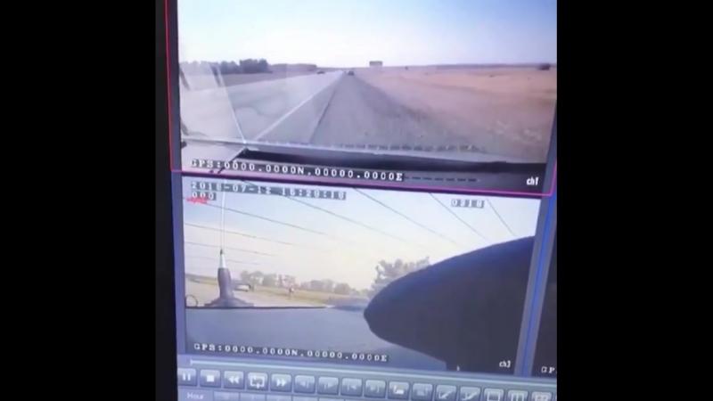 Момент наезда Лады Приоры на сотрудника ГИБДД на трассе Ставрополь — Изобильный — Регион-26