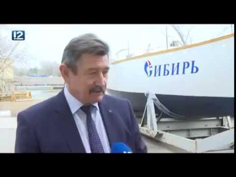 12 Канал. Час Новостей. Сюжет о том, как яхту «Сибирь» выкатили из эллинга