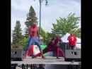 Spider Man and Deadpool dancing