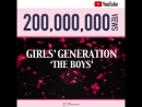 소녀시대 The Boys' MV 유튜브 조회수 2억뷰 돌파 I GOT A BOY' Gee'에 이은 세 번째 2억뷰 달성을 진심으로 축하하고 앞으로 소녀시대