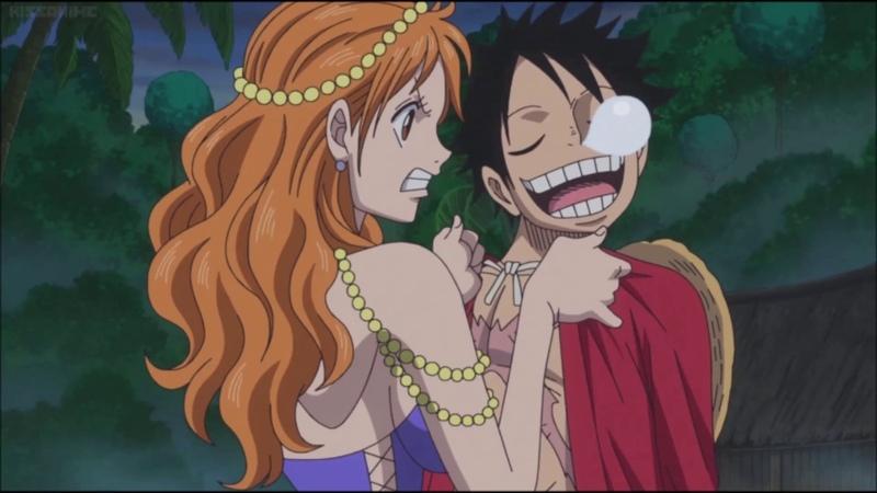 Nami tries to wake up Luffy - One Piece