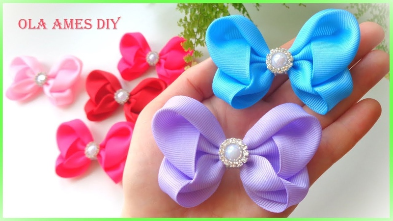 Бантики Бабочки из лент Заколка Канзаши Ribbon Butterfly Hair Clip Bow Laço Borboleta Ola ameS DIY