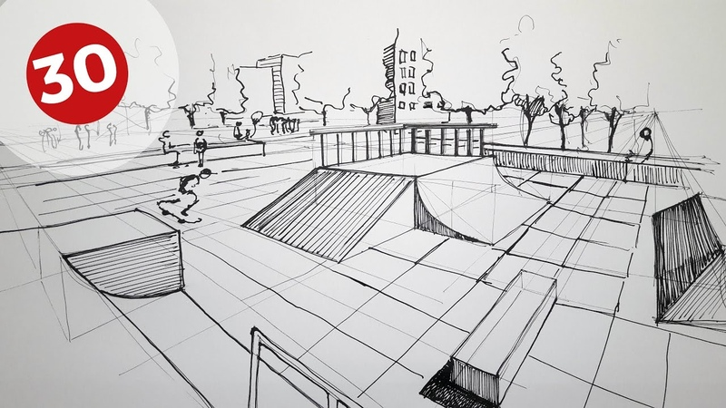 How to Draw a Skatepark | Daily Architecture Sketches 30