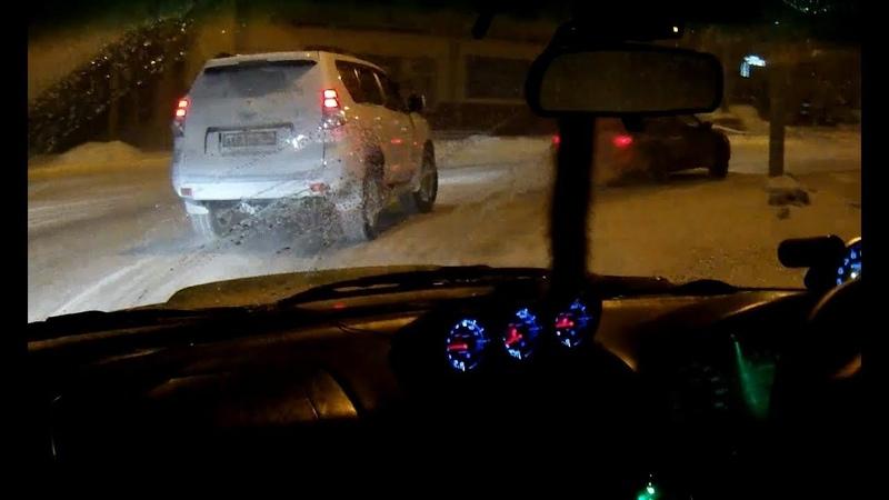 Prado по гололеду уходит от turbo Forestera OnBoard видео