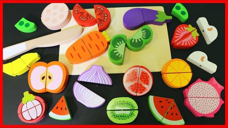 木質可愛水果蔬菜切切樂切切看玩具,學習顏色和食物!
