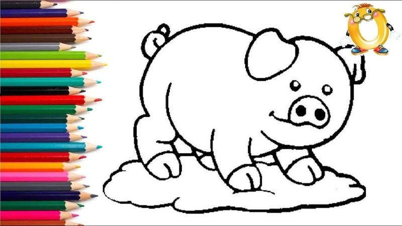 Раскраска для детей СВИНКА Мультик Раскраска Учим цвета II ОБУЧАШКА ТВ