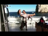 Hot girl in dress cradle lift carry squat
