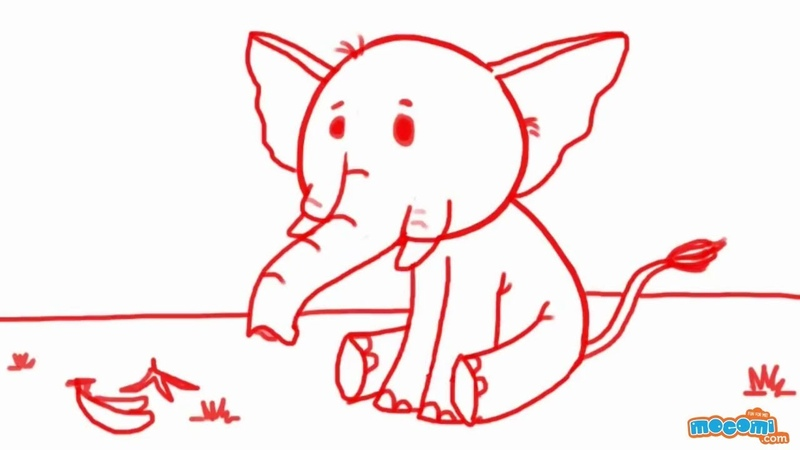 How to Draw an Elephant Step By Step Drawing for Kids Educational Videos by Mocomi