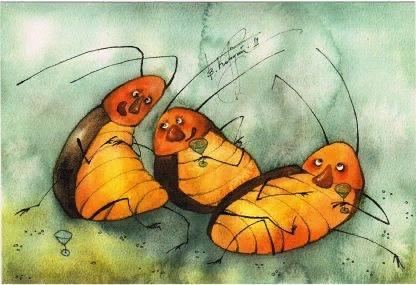 …аура просветленного обретает золотисто-янтарный цвет, и если приглядеться, внутри можно увидеть навсегда застывших в этом янтаре тараканов.