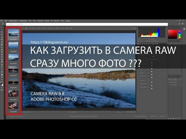 Как загрузить в camera raw сразу много фото
