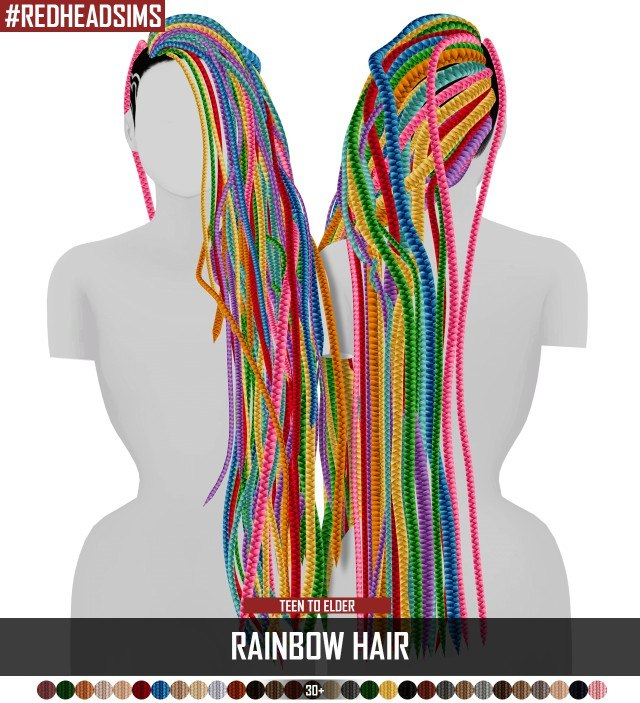 RAINBOW HAIR + DREAD VERSION by redheadsims